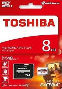 MEMORIA TOSHIBA MICROSD HC EXCERIA 8GB UHS-1 CLASE 10 LECTURA 48MB/S