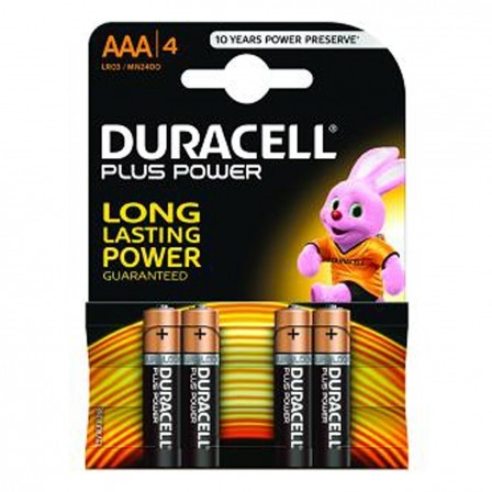 PACK DE 4 PILAS DURACELL PLUS POWER - LR3 - 1.5V - ALCALINA AAA